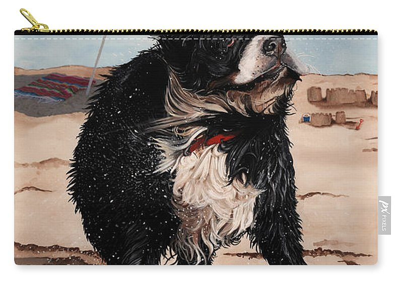 Bernese Mountain Dog Carry-all Pouch featuring the painting Dog Days Of Summer V2 by Liane Weyers