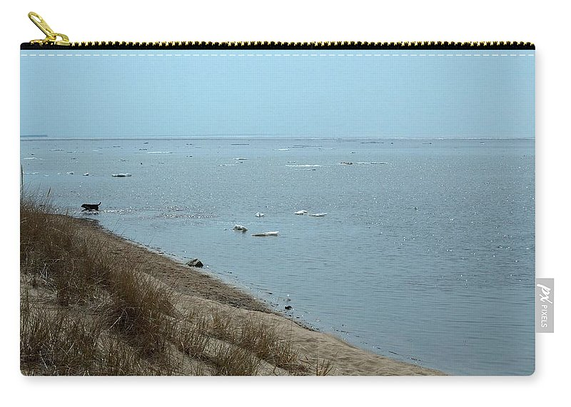 Great Lakes Carry-all Pouch featuring the photograph Dog In Icy Water by Linda Kerkau