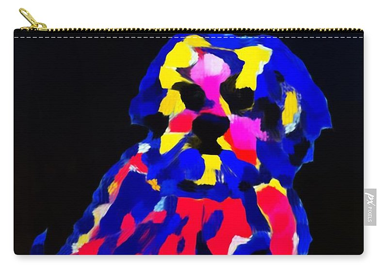 Dog Carry-all Pouch featuring the painting dog-Lahasa Apsos Tibetin Pooch Impression by Saundra Myles