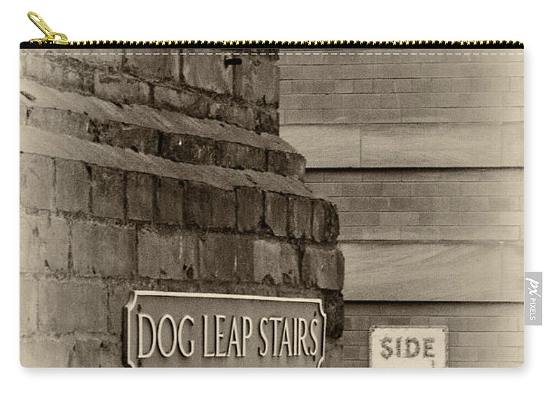 Dog Leap Stairs Carry-all Pouch featuring the photograph Dog Leap Stairs by David Pringle