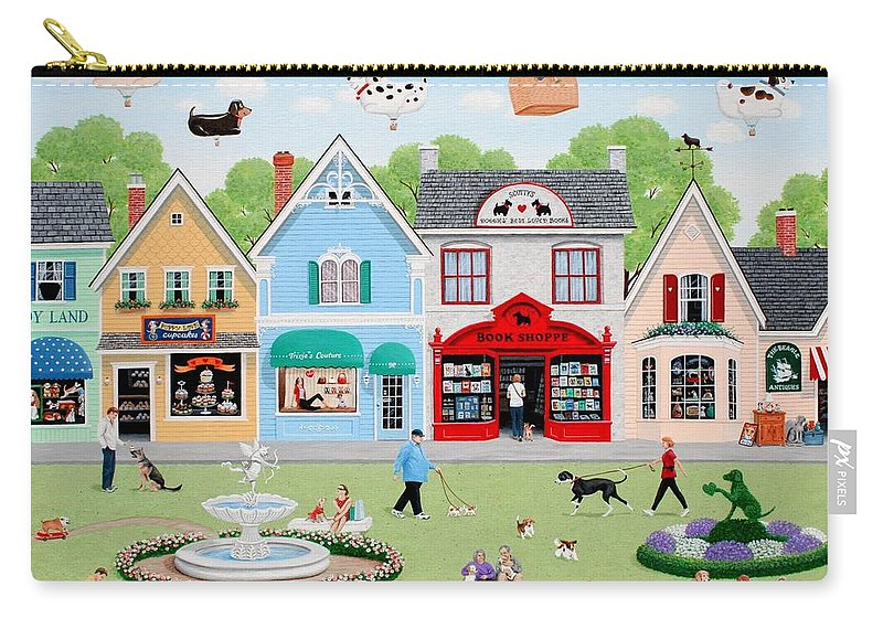 Naive Carry-all Pouch featuring the painting Dog Lovers' Lane by Wilfrido Limvalencia