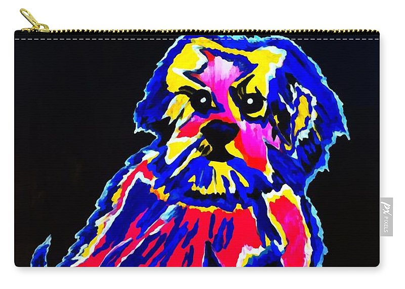 Dog Carry-all Pouch featuring the painting Dog Tibetin Lhasa Apsos by Saundra Myles