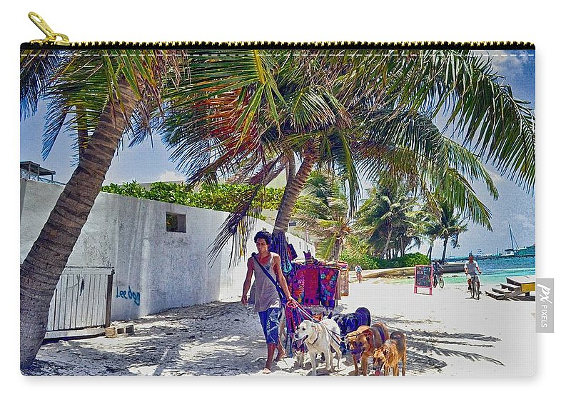 Street Photography Carry-all Pouch featuring the photograph Dog Walker by Kristina Deane