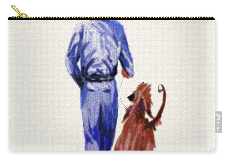 Ipad Paintings Carry-all Pouch featuring the painting Dog Walker by Terry Chacon