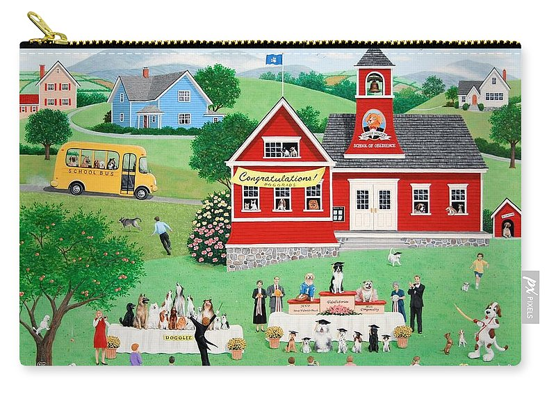 Folk Art Carry-all Pouch featuring the painting Doggie Graduation Day by Wilfrido Limvalencia