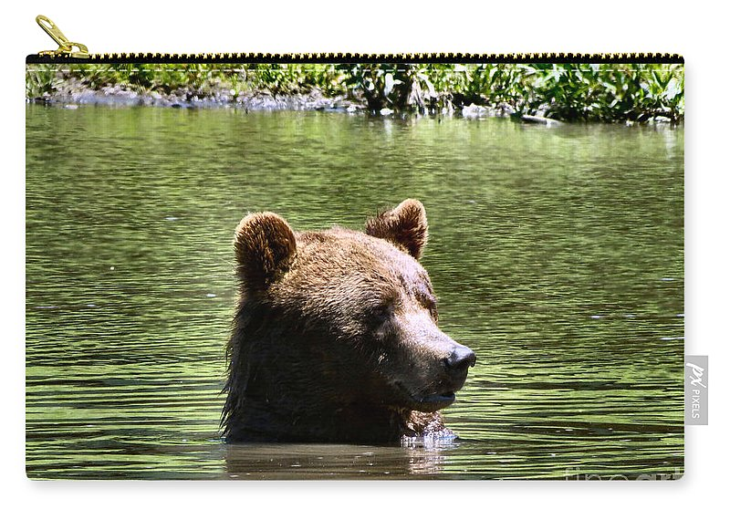 Bear Carry-all Pouch featuring the photograph Doggy Paddle by Art Dingo