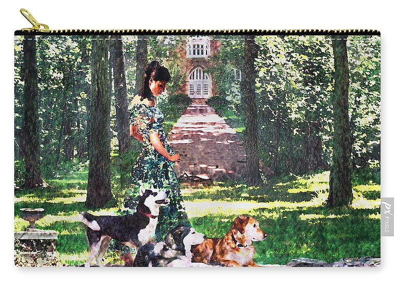 Landscape Carry-all Pouch featuring the photograph Dogs Lay At Her Feet by Steve Karol