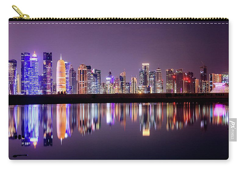 West Bay Carry-all Pouch featuring the photograph Doha Skyscrapers by Photography By Lubaib Gazir
