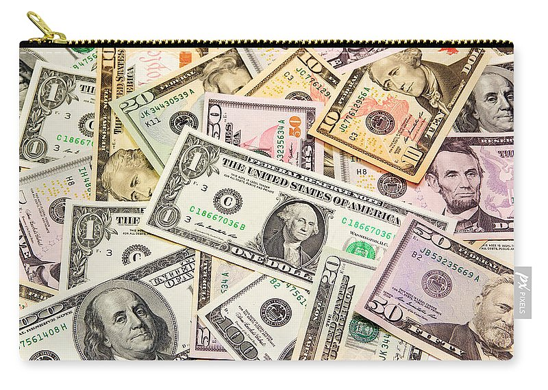 America Carry-all Pouch featuring the photograph Dollars Background. by Jaroslav Frank