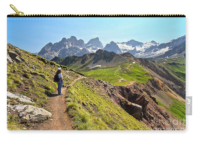 Hiker Carry-all Pouch featuring the photograph Dolomiti - Trekking In Val Ldi Fassa by Antonio Scarpi