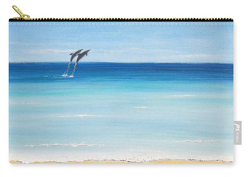 Dolphins Carry-all Pouch featuring the painting Dolphin Beach by Jerome Stumphauzer