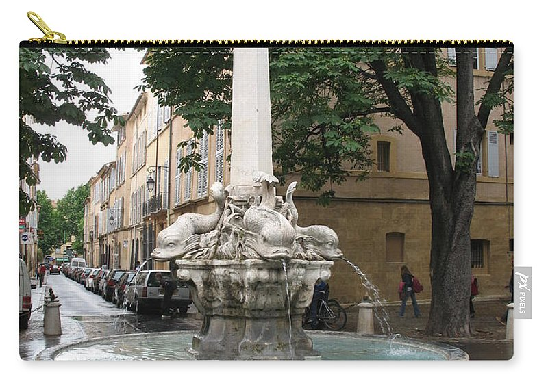Dolphin Fountain Carry-all Pouch featuring the photograph Dolphinfountain - Aix En Provence by Christiane Schulze Art And Photography