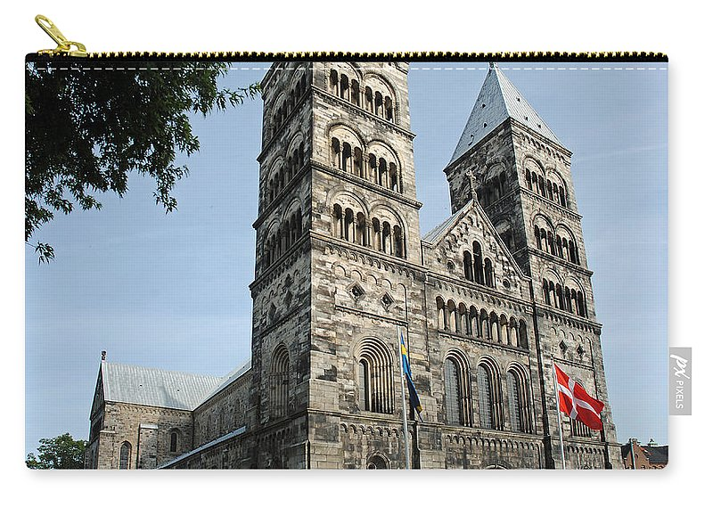 Domkyrkan Carry-all Pouch featuring the photograph Domkyrkan Lund Se A 03 by Jeff Brunton