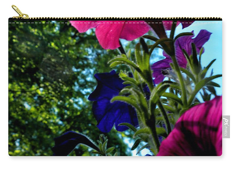 Petunia Carry-all Pouch featuring the photograph Donna's Blooming Petunias by Thomas Woolworth
