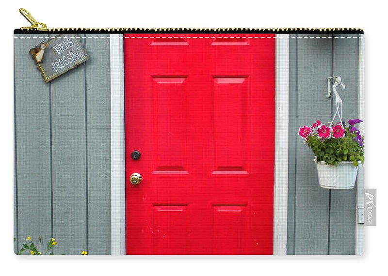 Red Door Carry-all Pouch featuring the photograph Donna's Red Friendship Door by Thomas Woolworth