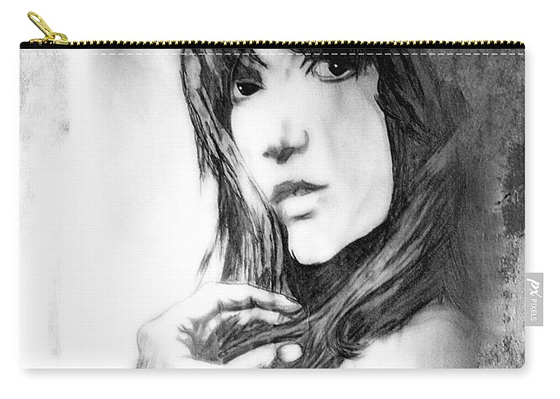 Woman Carry-all Pouch featuring the drawing Don't Lie To Me by Joachim G Pinkawa