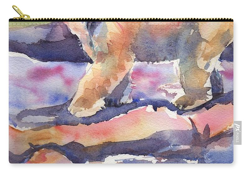 Polar Bear Watercolor Painting Carry-all Pouch featuring the painting Don't Look Back by Maria's Watercolor