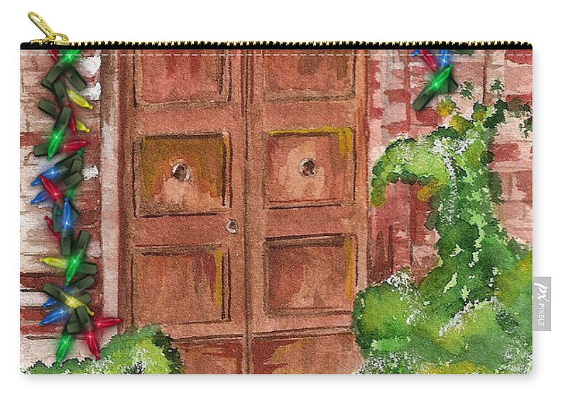 Door Carry-all Pouch featuring the mixed media Door - Christmas 2 by Judith Rice