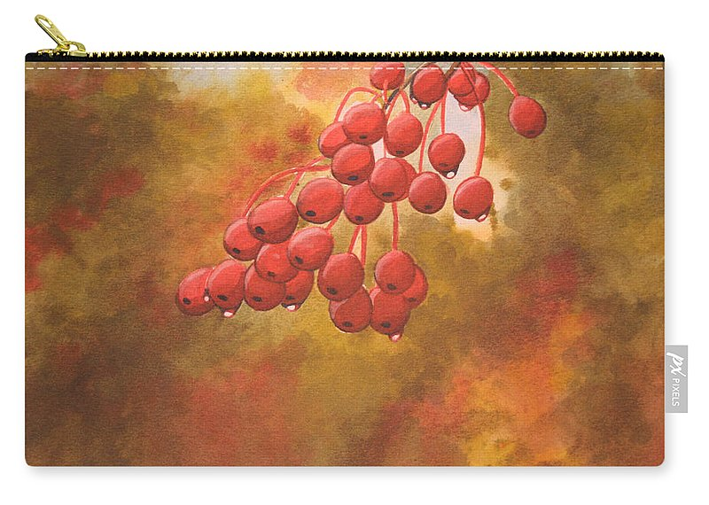 Rick Huotari Carry-all Pouch featuring the painting Door County Cherries by Rick Huotari