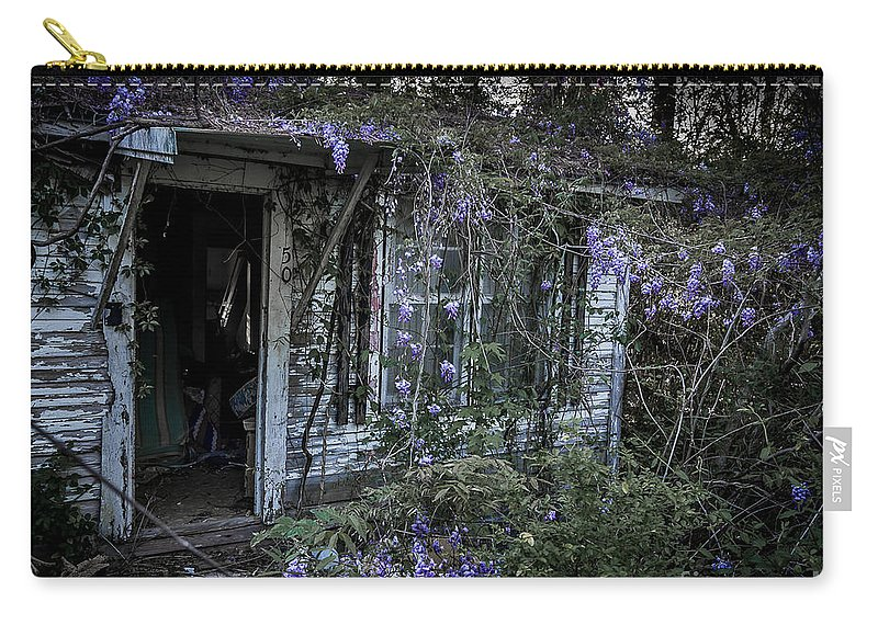 Abandoned Carry-all Pouch featuring the photograph Doorway And Flowers Two by Ken Frischkorn