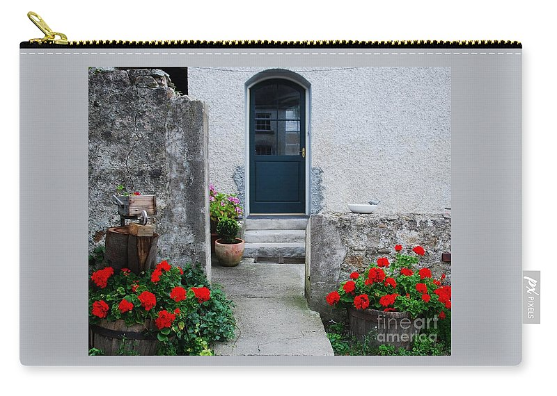 Irish Architectural Art Landscape Travel Doorway Home Stock Shot Killruddery Red Flowers Garden Steps Whimsical Outdoors No One Canvas Print Highly Recommended Hallway Poster Print Metal Frame Available On Greeting Cards Invitation To A Party Card Throw Pillow Art Duvet Covers Phone Cases Tote Bags Phone Cases Shower Curtains Pouches Weekender Tote Bags Mugs And T Shirts Carry-all Pouch featuring the photograph Doorway At Killruddery House Ireland by Marcus Dagan