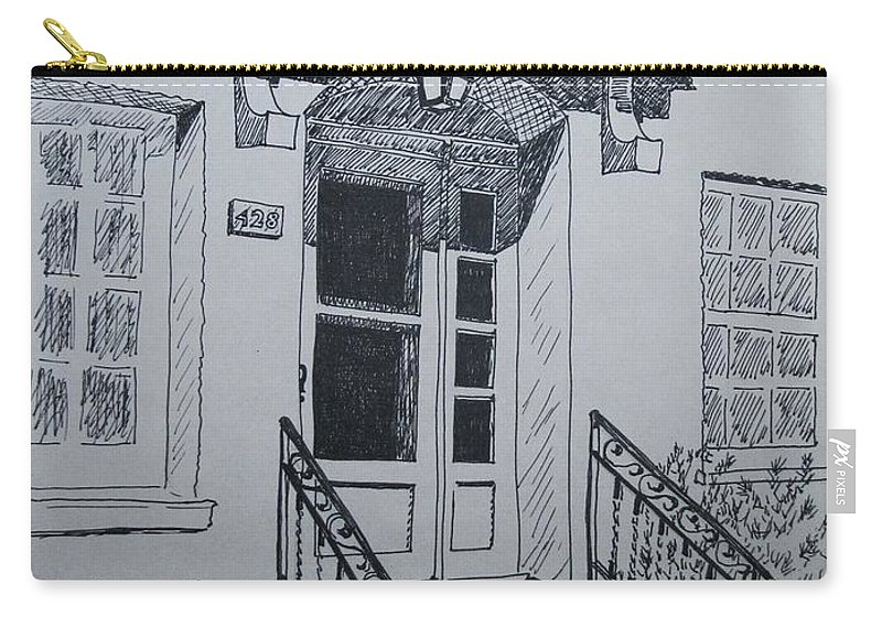 Pen And Ink Carry-all Pouch featuring the drawing Doorway by Mary Ellen Mueller Legault
