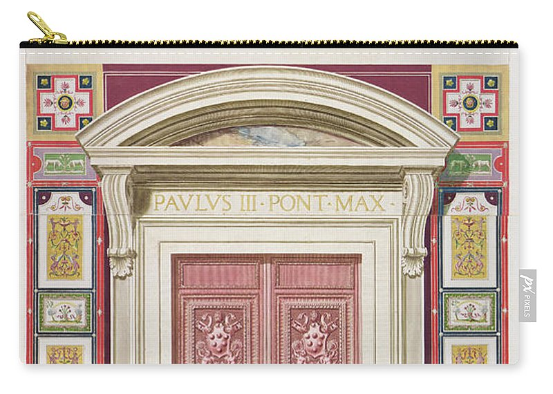 Renaissance Design Carry-all Pouch featuring the drawing Doorway To The Raphael Loggia by G. & Camporesi, P. Savorelli