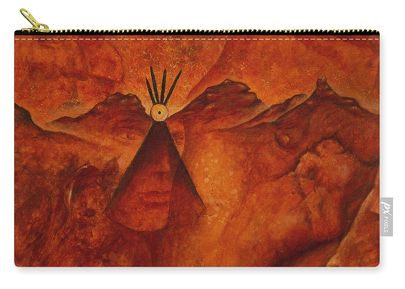 Native American Carry-all Pouch featuring the painting Doorways by Kevin Chasing Wolf Hutchins