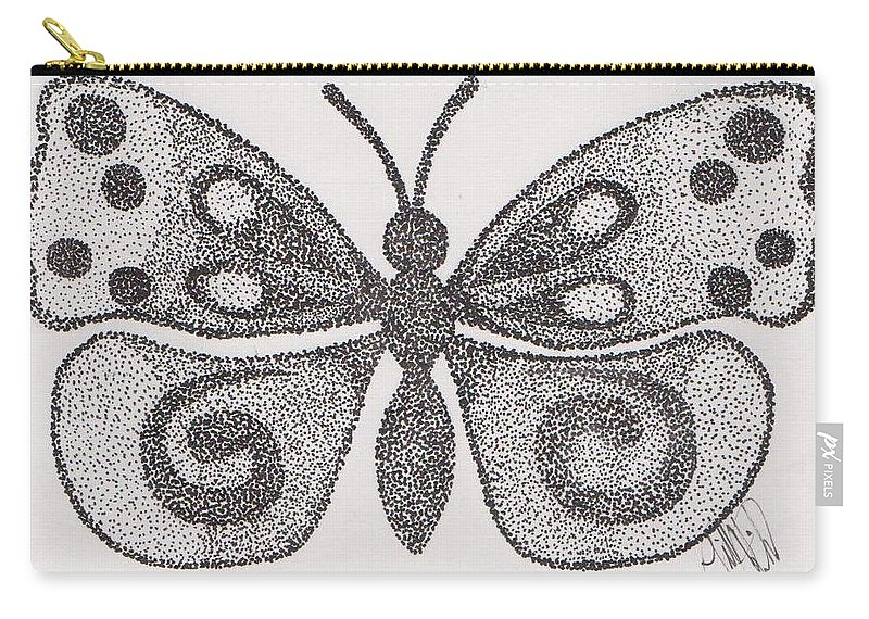 Butterfly Carry-all Pouch featuring the drawing Dotted Butterfly by Jill Christensen