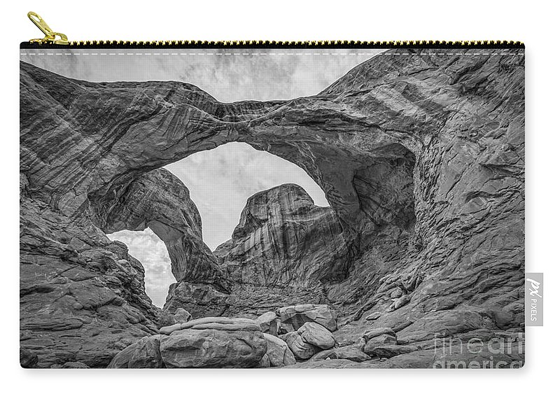 Delicate Carry-all Pouch featuring the photograph Double Arches Bw by Michael Ver Sprill