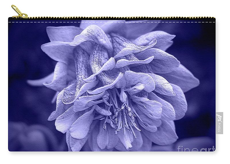 Mccombie Carry-all Pouch featuring the digital art Double Columbine In Blue by J McCombie