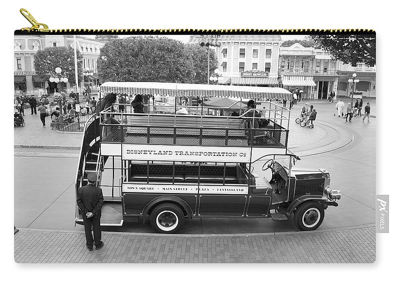 Disney Carry-all Pouch featuring the photograph Double Decker Bus Main Street Disneyland Bw by Thomas Woolworth