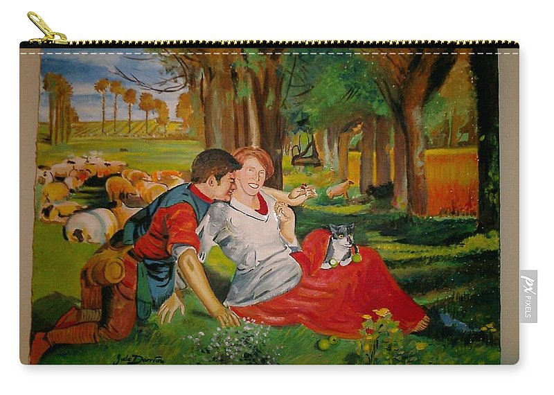 Carry-all Pouch featuring the painting double portrait of freinds Gunner and Jessie by Jude Darrien