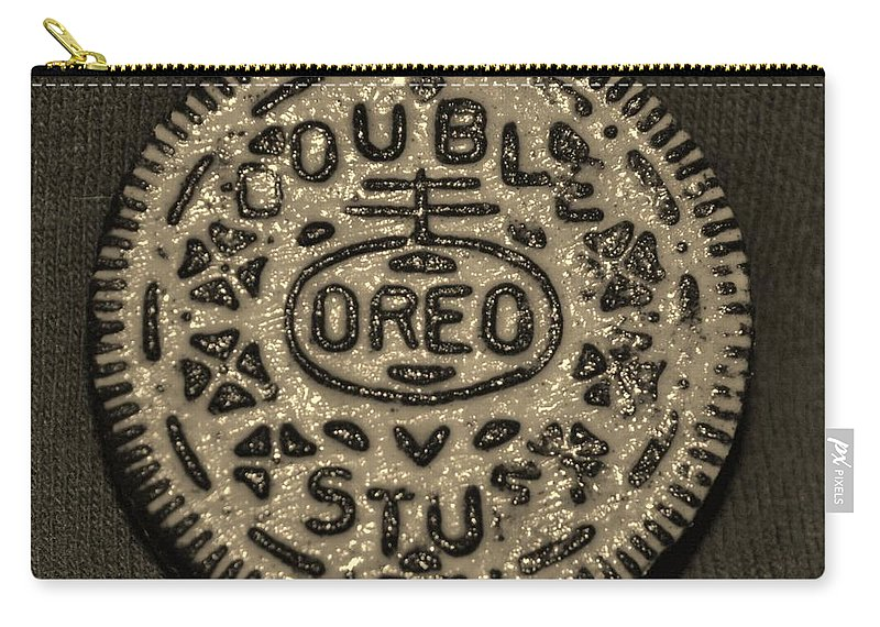 Oreo Carry-all Pouch featuring the photograph DOUBLE STUFF OREO in SEPIA NEGITIVE by Rob Hans