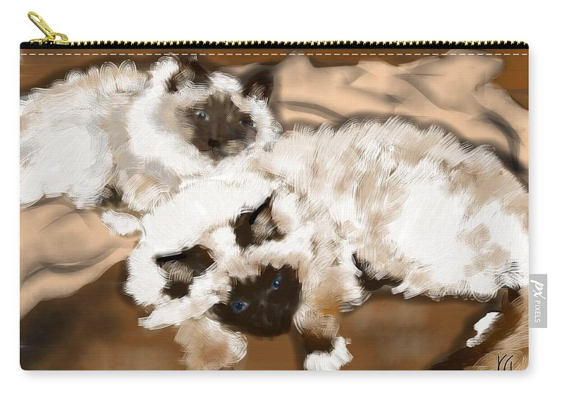 Cats Carry-all Pouch featuring the painting Double Trouble by Lois Ivancin Tavaf
