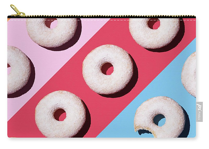 Shadow Carry-all Pouch featuring the digital art Doughnuts On Colourful Background by Westend61