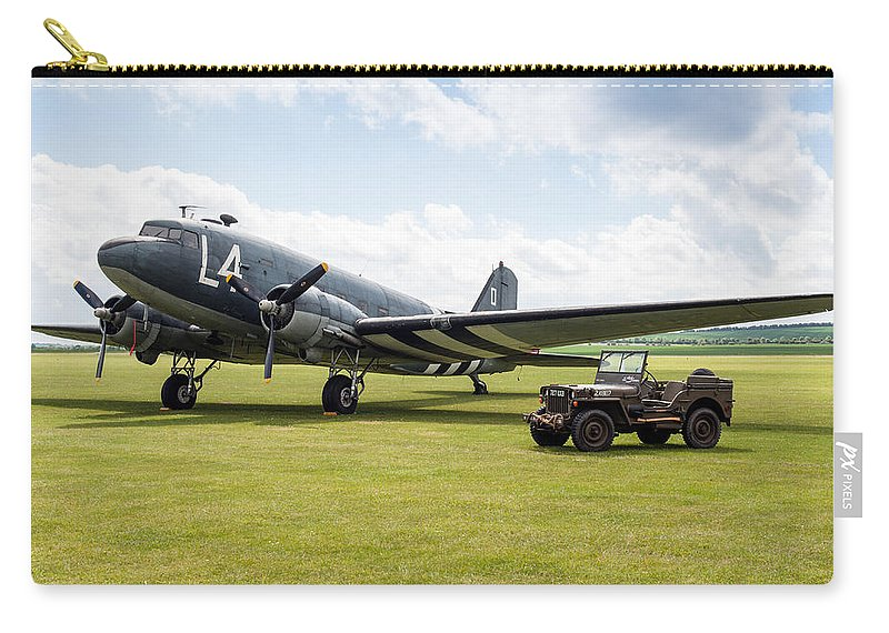 D-day Carry-all Pouch featuring the photograph Douglas C-47a Skytrain Ready For D-day by Gary Eason