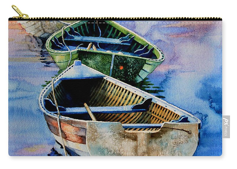 Dory Carry-all Pouch featuring the painting Down East Dories At Dawn by Hanne Lore Koehler