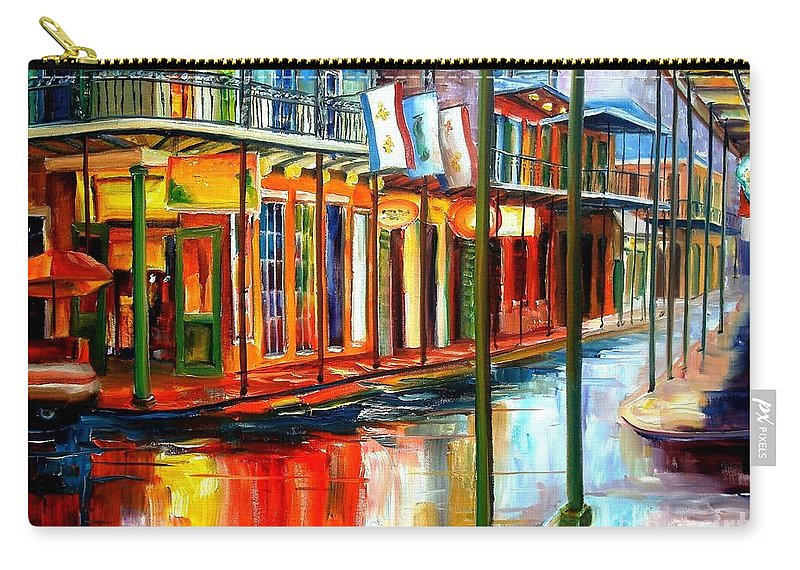 New Orleans Carry-all Pouch featuring the painting Downpour On Bourbon Street by Diane Millsap