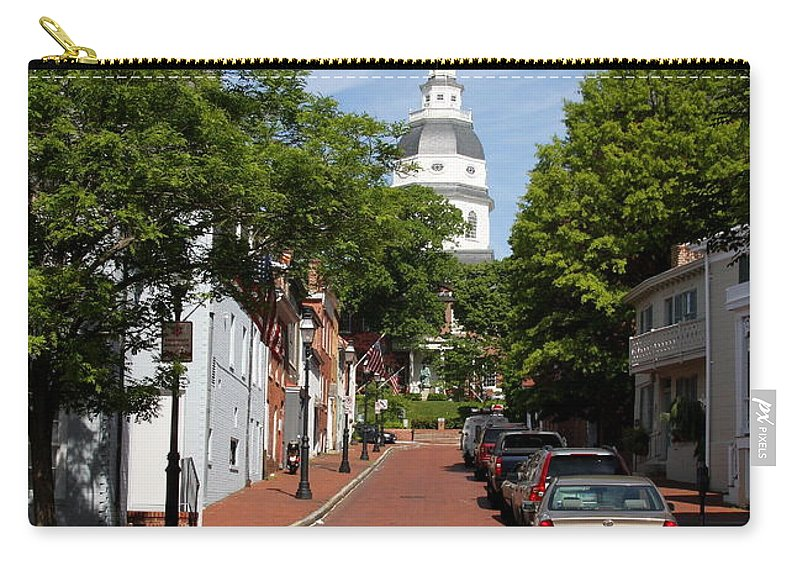 Annapolis Carry-all Pouch featuring the photograph Downtown Annapolis With Maryland State House Cupola by Christiane Schulze Art And Photography