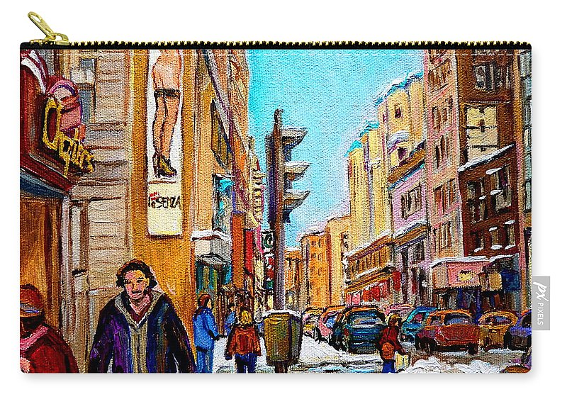 La Senza Lingerie Carry-all Pouch featuring the painting Downtown City Life by Carole Spandau