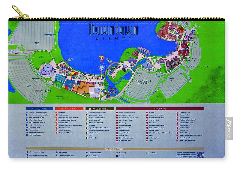 Disney Florida Map.Downtown Disney Florida Map Classic Carry All Pouch For Sale By