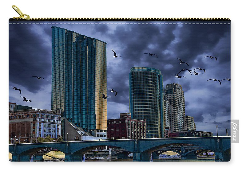 Art Carry-all Pouch featuring the photograph Downtown Grand Rapids Michigan By The Grand River With Gulls by Randall Nyhof