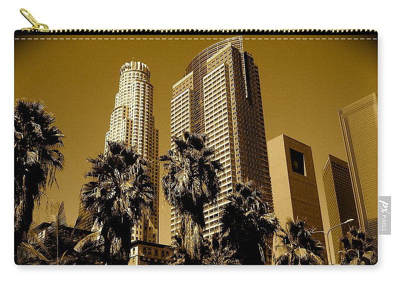 Los Angeles Prints Carry-all Pouch featuring the photograph Downtown Los Angeles by Monique's Fine Art