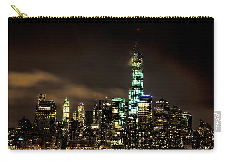 Downtown Carry-all Pouch featuring the photograph Downtown Manhattan At Night by Chris Lord