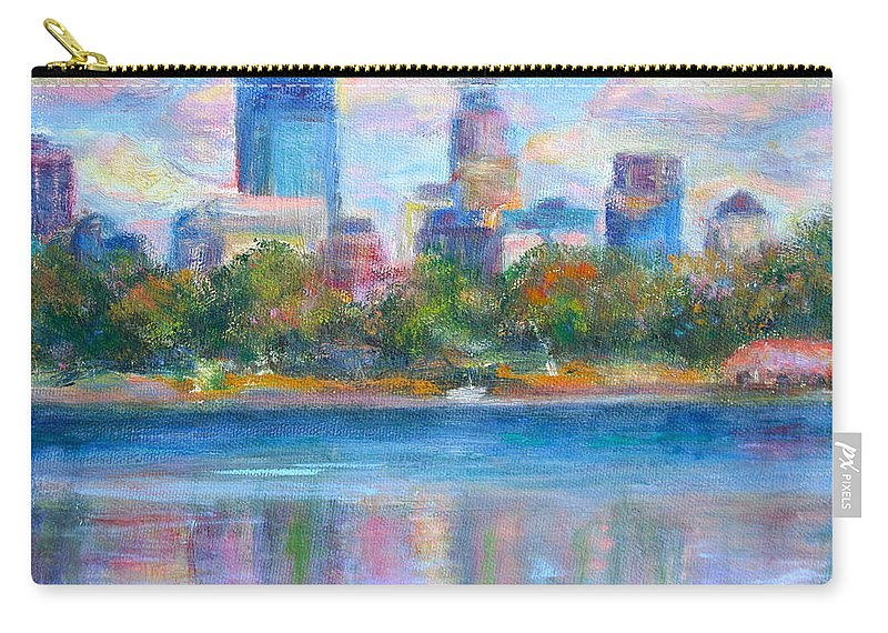 Quin Sweetman Carry-all Pouch featuring the painting Downtown Minneapolis Skyline From Lake Calhoun by Quin Sweetman