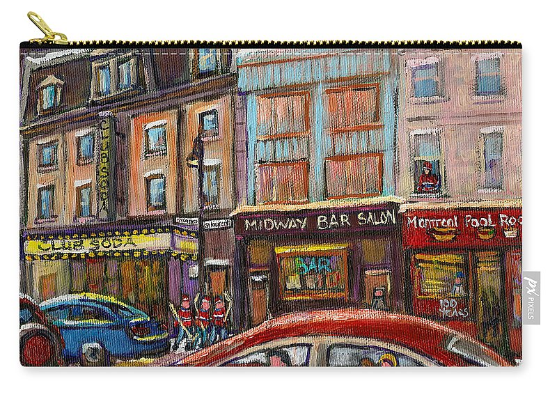 Montreal Carry-all Pouch featuring the painting Downtown Montreal Streetscene by Carole Spandau
