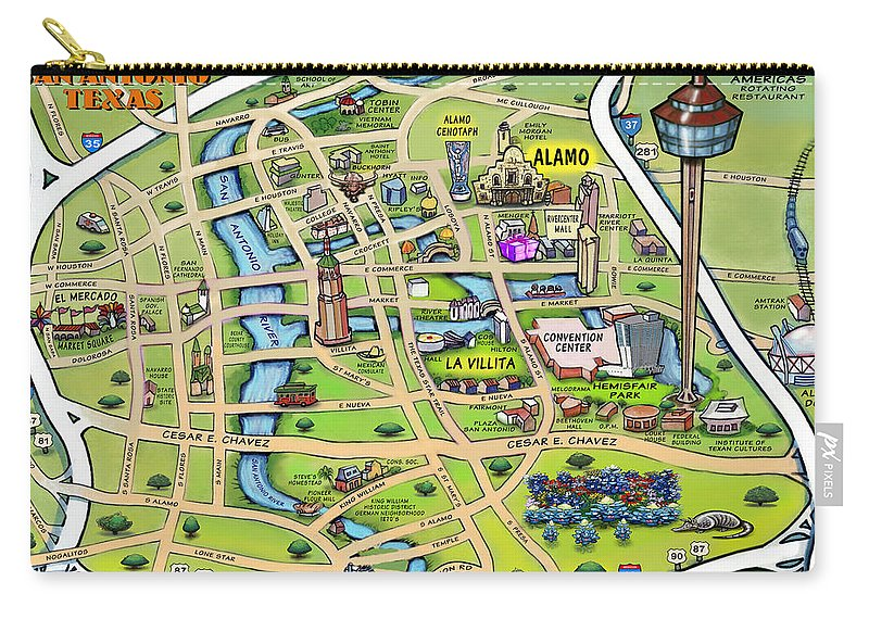 San Antonio Carry-all Pouch featuring the digital art Downtown San Antonio Texas Cartoon Map by Kevin Middleton