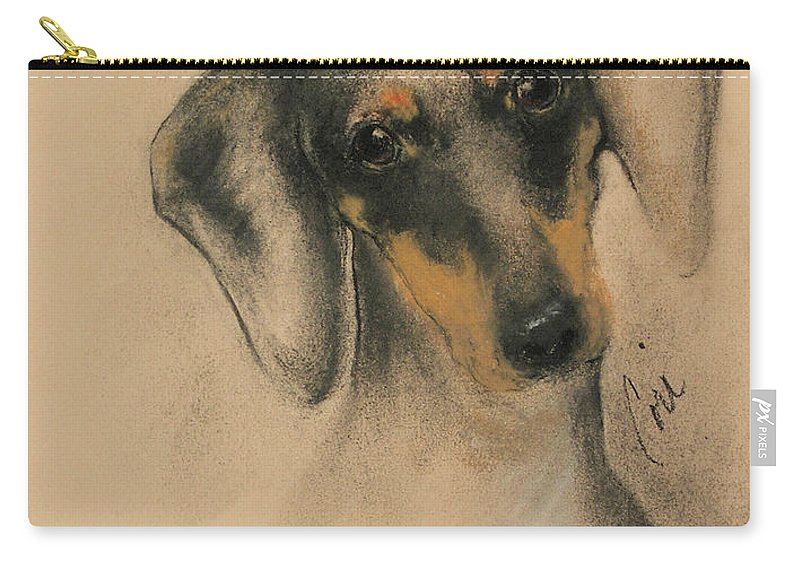 Dachshund Carry-all Pouch featuring the drawing Doxie by Cori Solomon