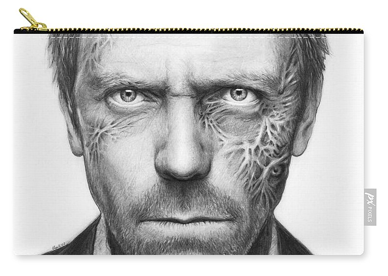 House Md Carry-all Pouch featuring the drawing Dr. Gregory House - House Md by Olga Shvartsur